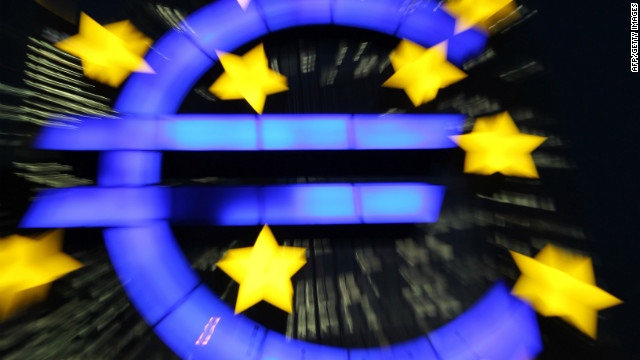 The logo of the Eurozone currency is displayed in front of the European Central Bank in Frankfurt, Germany.