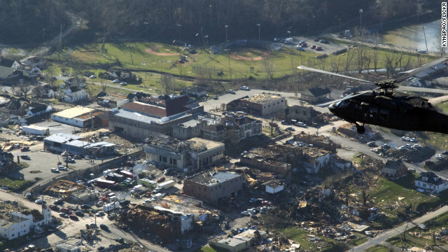 Gov. Steve Beshear visits West Liberty, Kentucky after a tornado struck the town March 2.
