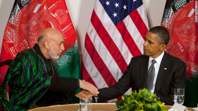 Afghan President Hamid Karzai pictured with U.S. President Barack Obama at the U.N. in September.
