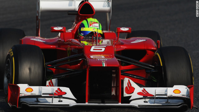 Ferrari's new F2012, like many new cars for the forthcoming season, features a dramatic steep-nosed design.