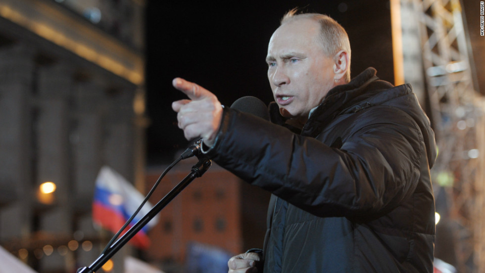 March: Russia's Prime Minister Vladimir Putin addresses supporters at a rally outside the Kremlin on March 4, 2012. With his inauguration, he became the longest serving Russian leader since Joseph Stalin.