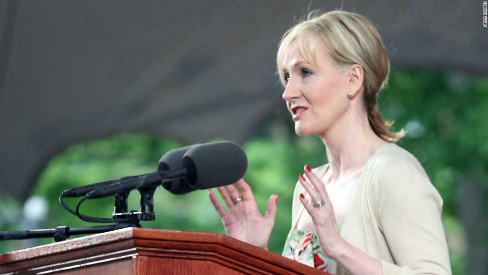 """Harry Potter"" author J.K. Rowling speaks at Harvard's commencement in 2008. ""Imagination is not only the uniquely human capacity to envision that which is not, and therefore the fount of all invention and innovation. In its arguably most transformative and revelatory capacity, it is the power that enables us to empathize with humans whose experiences we have never shared."""