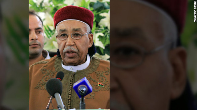 Ahmed Zubair al-Senussi, a member of the National Transitional Council, addresses the media after the election.
