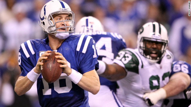 Quarterback Peyton Manning in action for the Indianapolis Colts against the New York Jets.