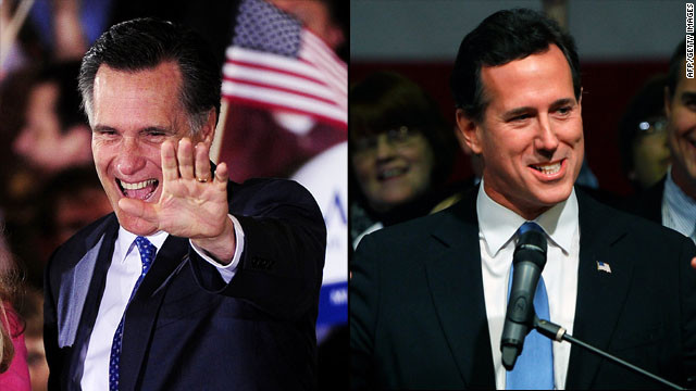 GOP presidential candidates Mitt Romney and Rick Santorum address their supporters during their Super tuesday speeches.