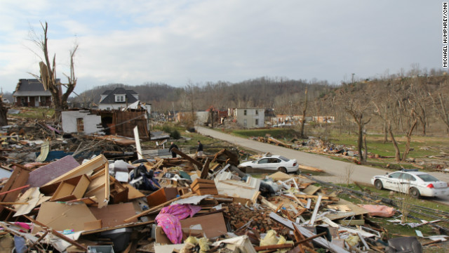 Friday's tornado that struck West Liberty, Kentucky, stayed on the ground for 95 miles, the National Weather Service says.