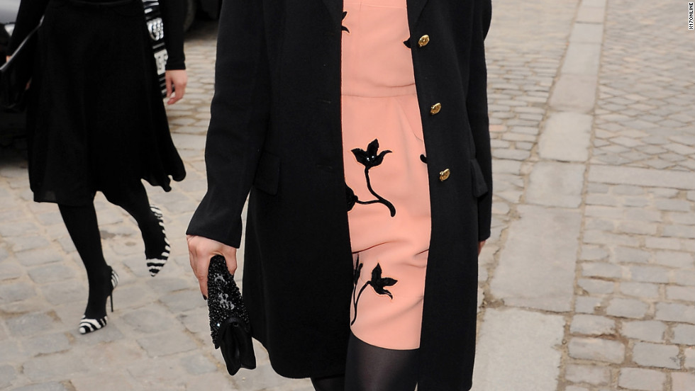 Dianna Agron attends a fashion show in Paris.
