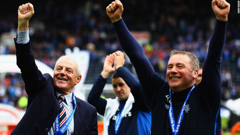 Former Rangers manager Walter Smith, left, celebrates with his assistant Ally McCoist. Smith's 10th league crown with the club was also his last -- as he retired and passed on the reins to his number two.