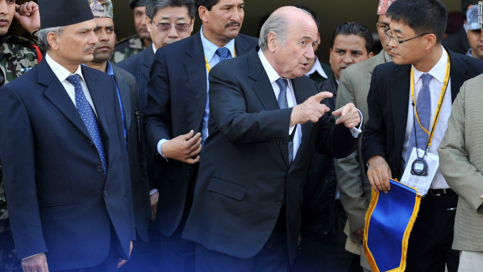 FIFA president Sepp Blatter pictured in Nepal on Thursday. He is seen here with Nepalese Prime Minister Baburam Bhattarai.