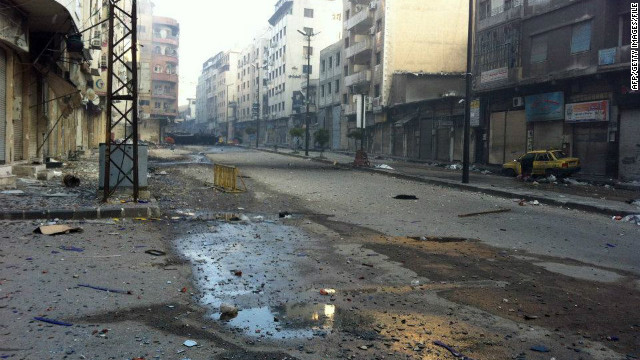 A street in Homs, Syria, appears deserted in late February.  The city has been at the center of Syria's uprising.