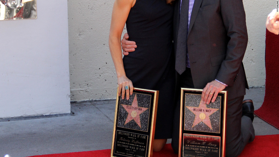 Felicity Huffman and her husband William H. Macy receive stars on the Hollywood Walk of Fame in Los Angeles.