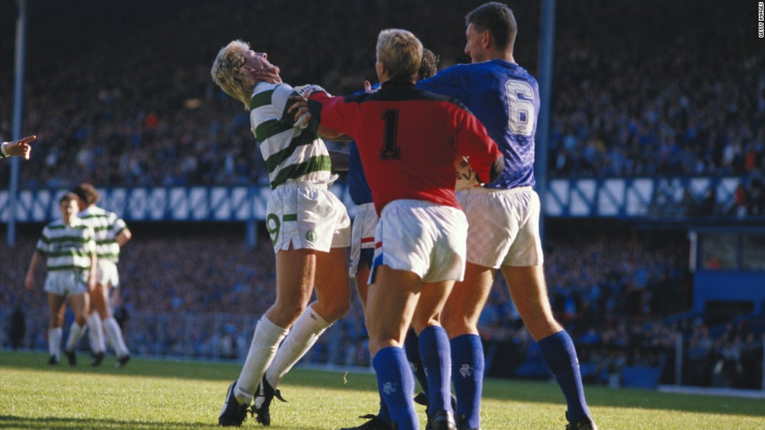This combustible fixture has been known to boil over both on and off the pitch. In 1987 Frank McAvennie (left) of Celtic as well as Chris Woods and Terry Butcher of Rangers faced charges of breach of the peace for this bust up. Woods and Butcher were found guilty while McAvennie was found not guilty.