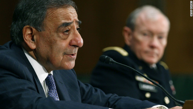 Defense Secretary Leon Panetta at a Senate Armed Services Committee hearing on  in Washington, DC.