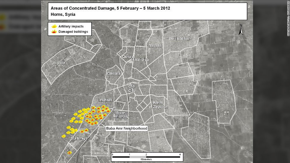 Illustrations of artillery impacts and damaged buildings are shown in the Baba Amr neighborhood of Homs.