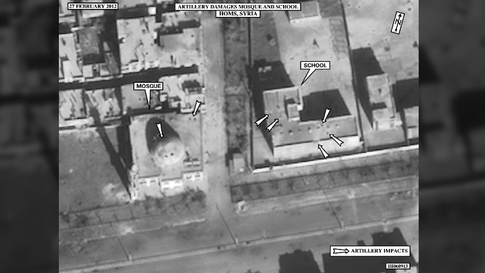 This satellite image shows artillery damage to the Al Jouri mosque and an adjacent school in the Bab Amr neighborhood of Homs on February 27.
