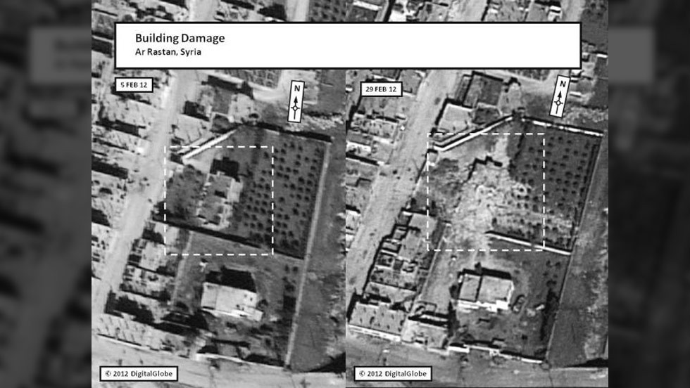 Inside the box illustrated in this satellite image, damage to a building is shown in Ar Rastan, Syria, on February 5.