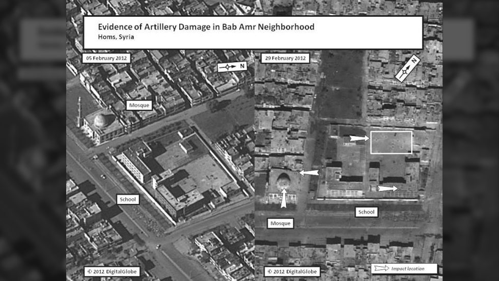 This satellite image depicts artillery damage to a mosque and school in the Bab Amr neighborhood of Homs.
