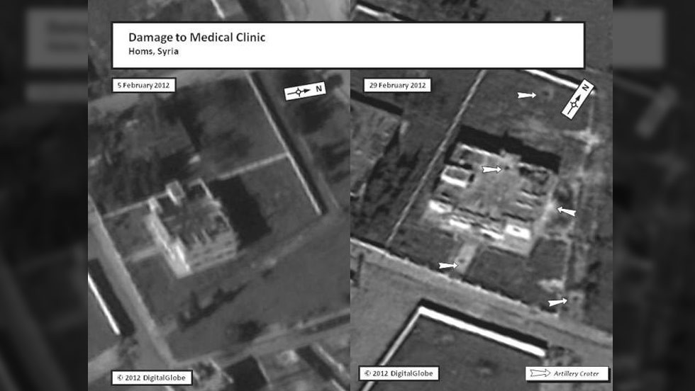 This satellite image depicts the before and after damage to a medical clinic in the Homs area on February 5 and February 29, respectively.