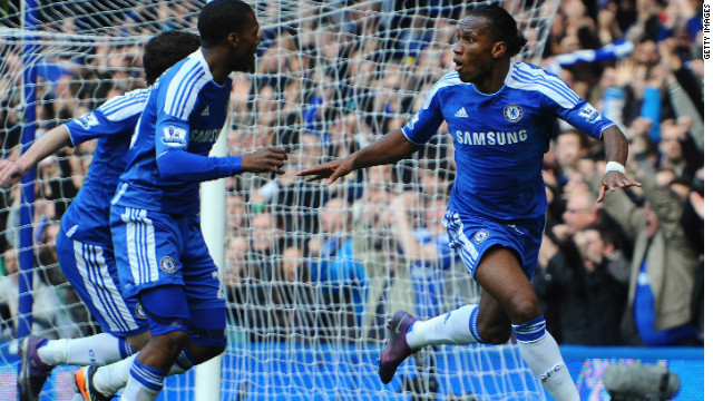 Didier Drogba scores his 100th EPL goal to seal three points for Chelsea at home to Stoke.