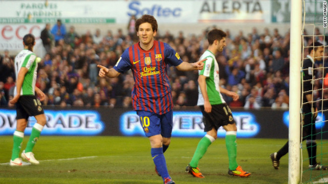 Lionel Messi has now scored seven goals this week, after his double strike saw off Racing Santander.