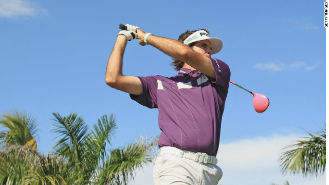 Bubba Watson tees off during his third round 67 on Doral's Blue Monster.