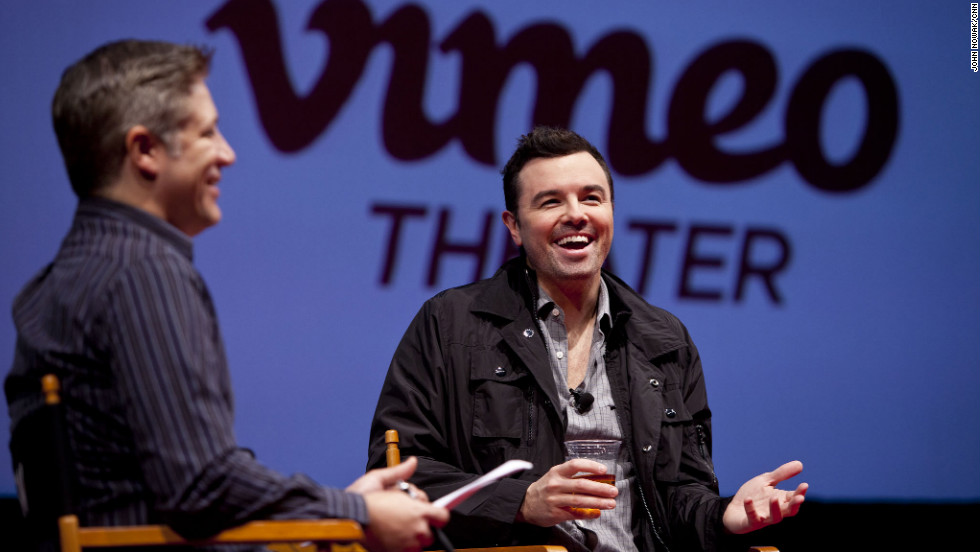 """Family Guy"" creator Seth MacFarlane talks about his new movie, ""Ted,"" on the stage of the Vimeo Theater."