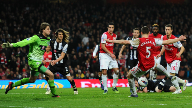 Thomas Vermaelen was in the right place at the right time to score a crucial late winner for Arsenal against Newcastle.