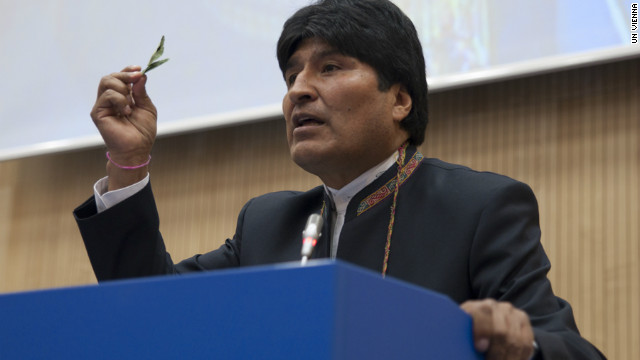 Bolivian Pres. Evo Morales defends the practice of chewing on coca leaves to the UN commission on Narcotic Drugs.