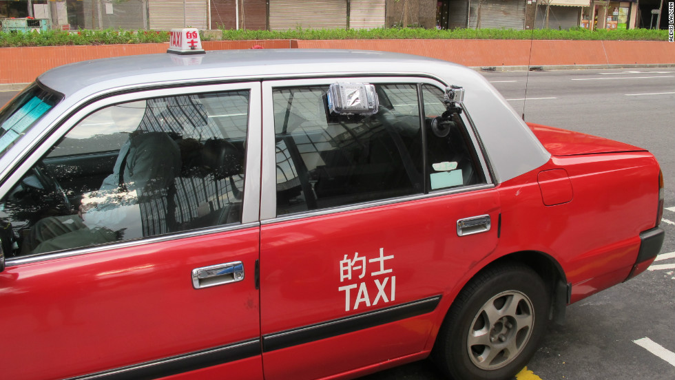 A Hong Kong taxi kitted out with Safecast radiation monitoring gear.