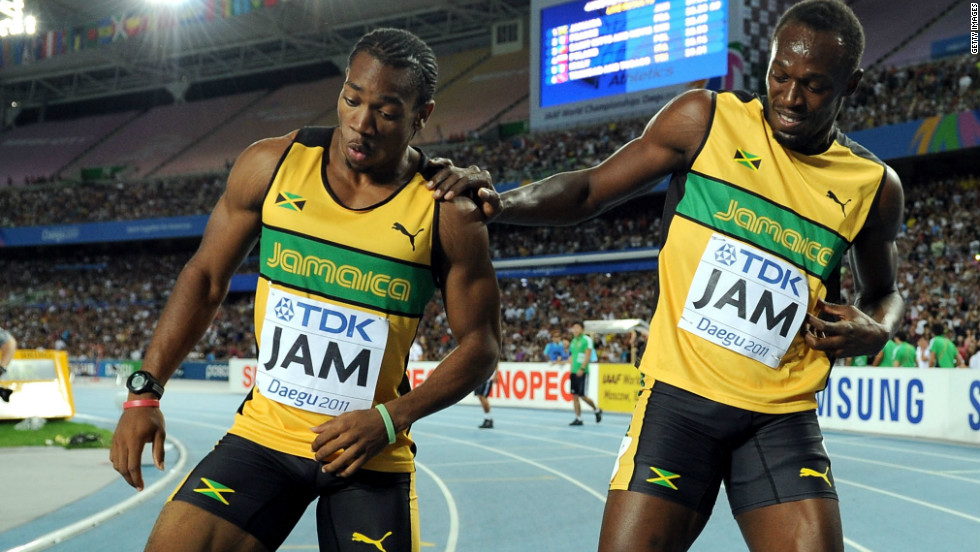 Bolt's disappointment of missing out in the 100m was tempered by the relay success, and he and Blake celebrated in Daegu with a few nifty dance steps.