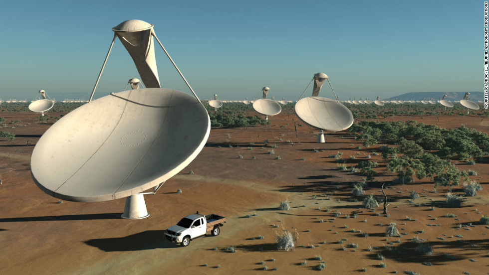 "Each antenna dish will measure around 15 meters across. A dense cluster of dishes will sit in a ""central core region"" with others spread out over an area over at least 3,000 kilometers."