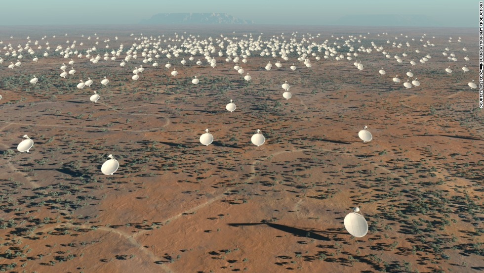 The Square Kilometer Array telescope will revolutionize our understanding of the universe. This computer-generated image shows how some of its 3,000 dishes would look on site.