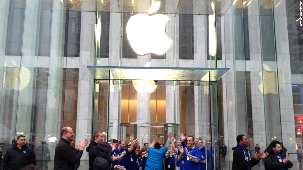 Long lines formed outside Apple's flagship store on Fifth Avenue in New York as thousands wait to get their hands on the latest iPad.