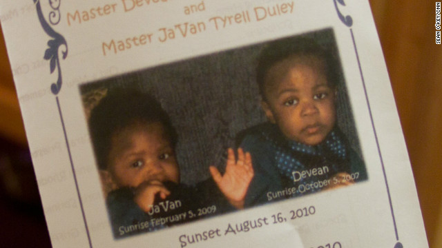 Police say  Shaquan Duley suffocated 1-year-old Ja'Van Duley and 2-year-old Devean Duley.