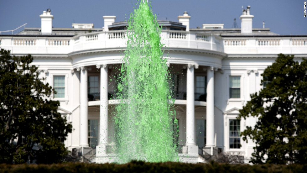 The White House fountain is dyed bright green in honor of St. Patrick's Day.