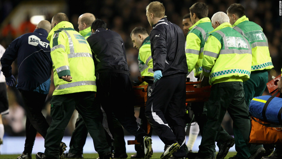 The 23-year-old was carried off the pitch at White Hart Lane and taken to a hospital in London. The game was abandoned.