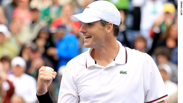 John Isner celebrates the biggest victory of his career after dumping out Novak Djokovic.