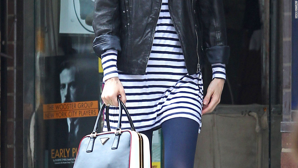 January Jones drops off her dry cleaning in New York City.