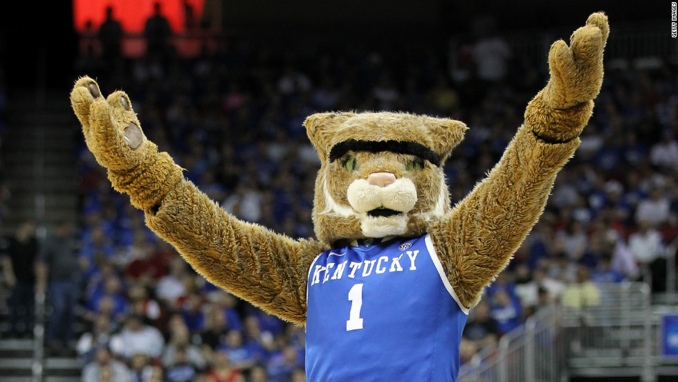 The Kentucky Wildcats mascot, Scratch, gets the crowd going during a second-round game against Western Kentucky.