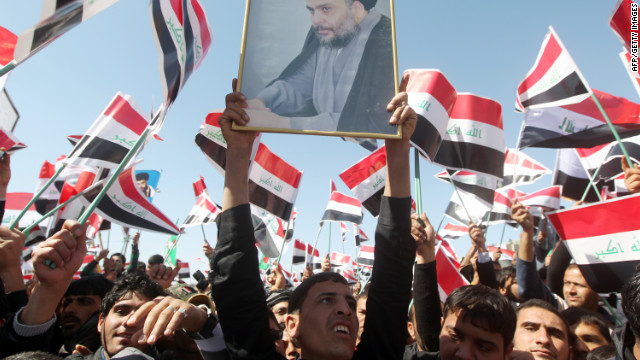 Anti-American Shiite cleric Muqtada al-Sadr's followers mark the ninth anniversary of the U.S. invasion of Iraq on Monday.