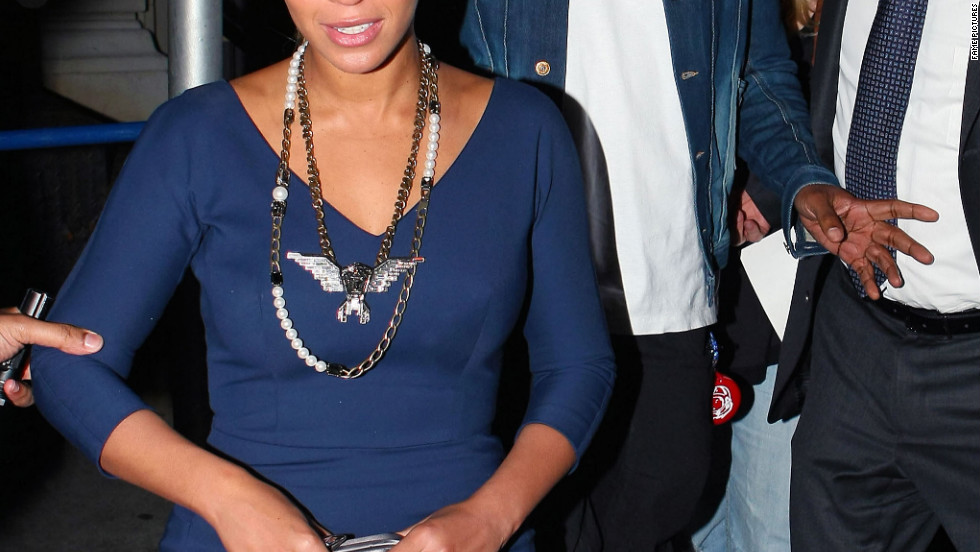 Beyonce and Jay-Z leave a restaurant in New York City.