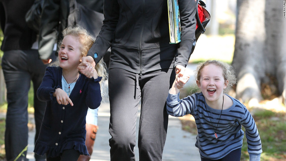 Marcia Cross picks up her daughters from school in Santa Monica.