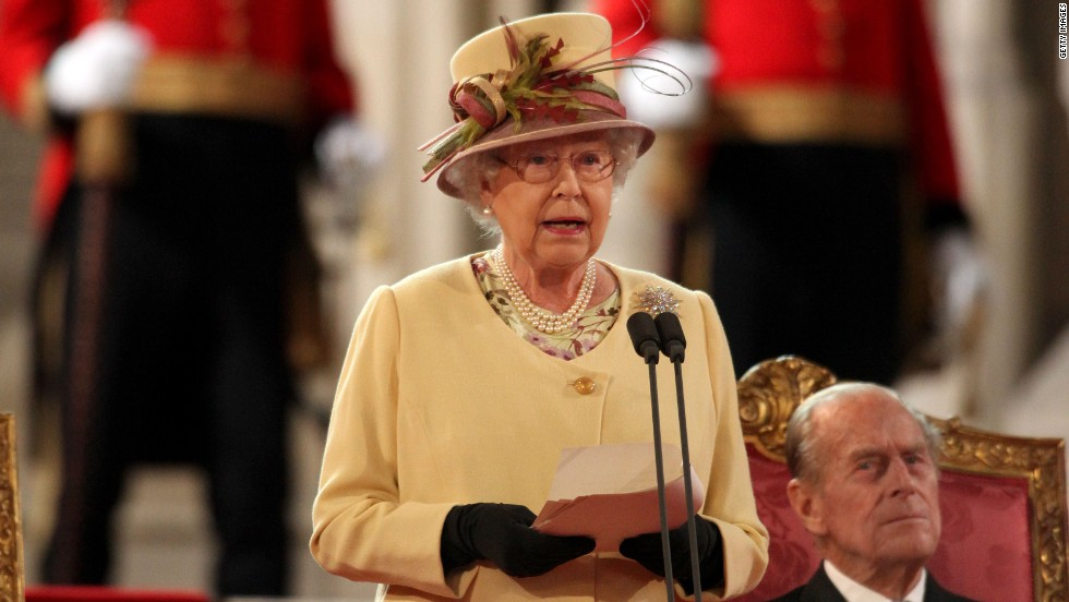 The Queen, seen here addressing both Houses of Parliament in Westminster Hall, is celebrating her Diamond Jubilee in 2012.