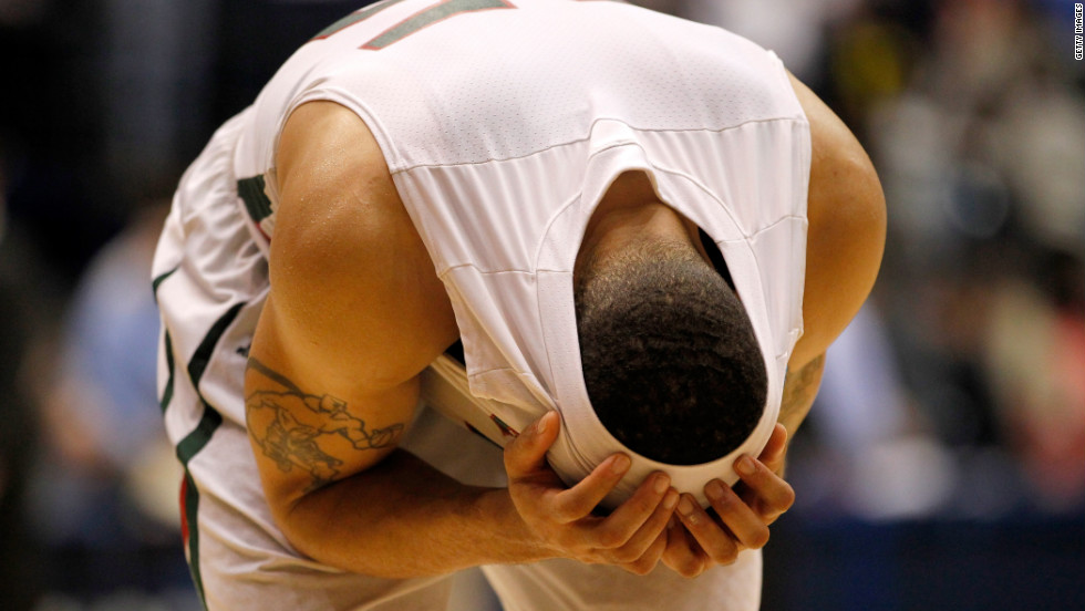 Kevin Burwell of the Mississippi Valley State Delta Devils reacts after losing to the Western Kentucky Hilltoppers 59-58 in the first round of the NCAA men's basketball tournament on March 13.