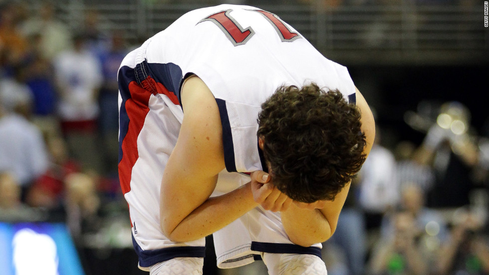 Clint Steindl of the St. Mary's Gaels takes a moment after losing 72-69 to the Purdue Boilermakers during the second round on March 16.
