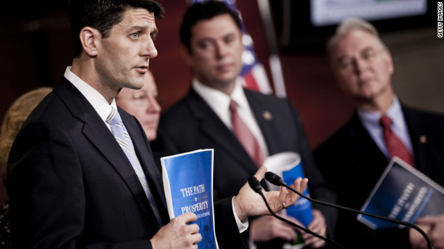 Joined by fellow House Republicans, Rep. Paul Ryan, R-Wisconsin, unveils the House GOP 2013 budget Tuesday.