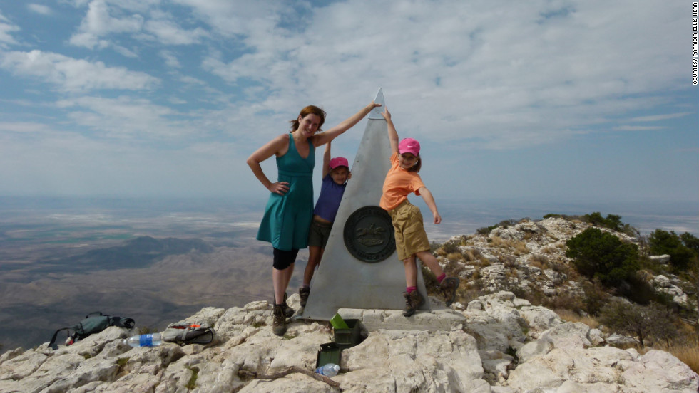 Trish, Alex and Sage on the summit of Guadalupe Peak, TX. September 2011