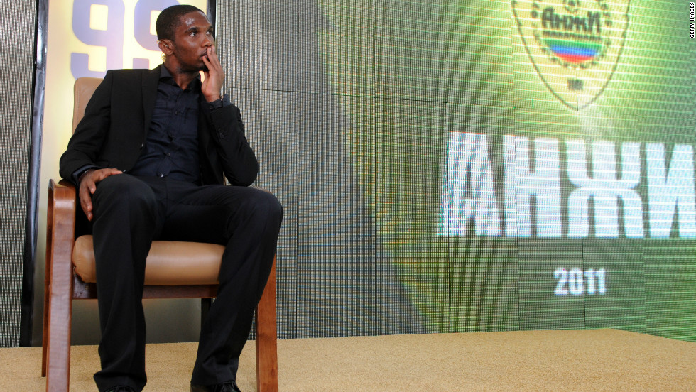 Cameroon's Samuel Eto'o  profited from joining big-spending Russian outfit Anzhi Machachkala from Inter Milan in August 2011.
