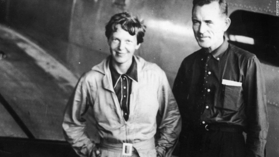 Amelia Earhart with her navigator, Capt. Fred Noonan, before their fateful flight.  Earhart was last heard from when their plane was flying near Howland Island in the Pacific.