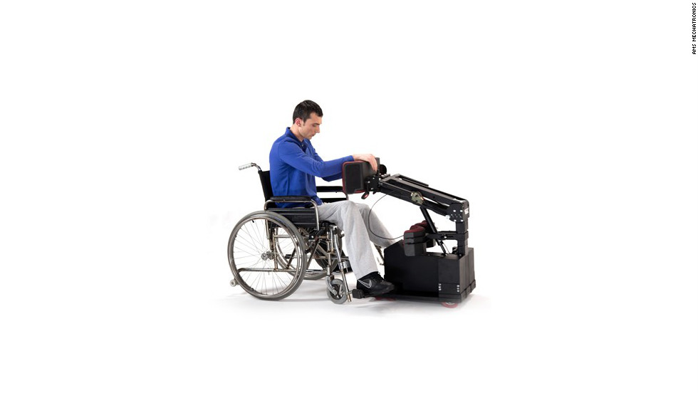 Unlike a wheelchair, the Tek RMD is designed to be mounted from the back. With the aid of a spring mechanism similar to that on the rear door of an SUV, the user can pull himself into the device instead of lifting up and moving into a chair.
